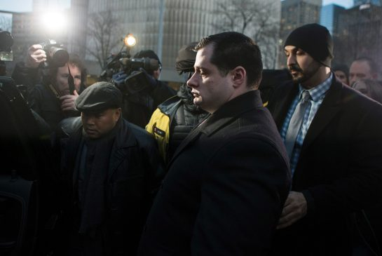 THE CANADIAN PRESS/Chris Young Const. James Forcillo leaves court in Toronto on Monday, Jan. 25, 2016. Forcillo has been found guilty of attempted murder in the 2013 shooting death of troubled teen Sammy Yatim on an empty streetcar.