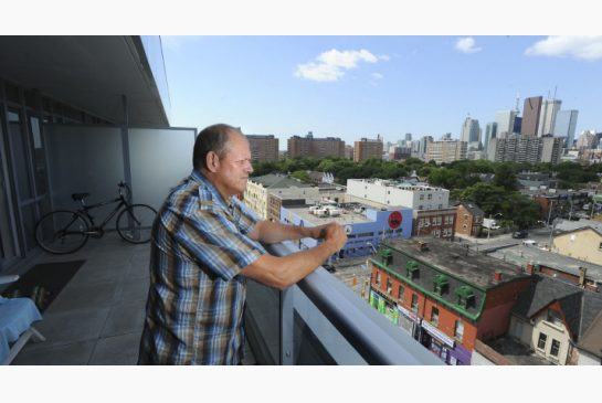 RICHARD LAUTENS / TORONTO STAR Order this photo Mike Creek recently took ownership of his own condo in Regent Park after a cancer diagnosis pushed him into poverty for 17 years. Destitute, he had ended up couch-surfing and in homeless shelters.